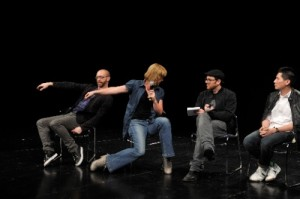 Chris Roman and Norah Zuniga Shaw demonstrating alignments in a panel discussion with architects and musicians in Beijing China this autumn 2010.